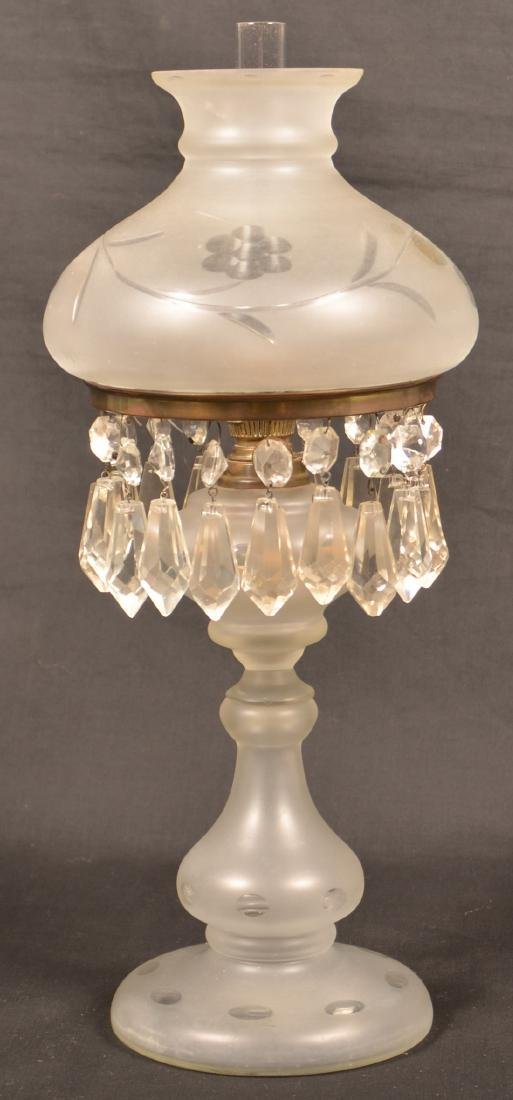 Frosted Colorless Glass Boudoir Pedestal Lamp.