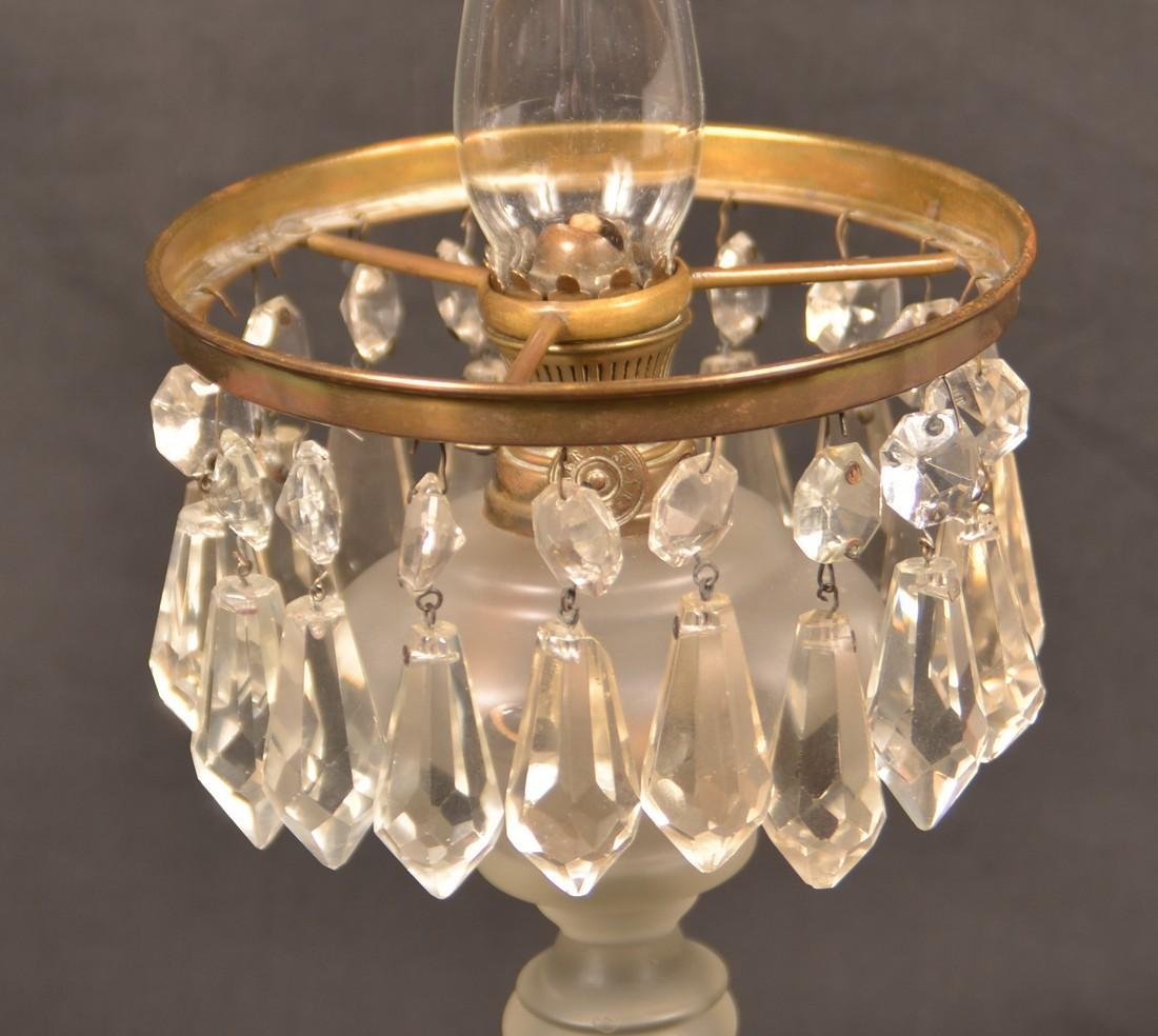 Frosted Colorless Glass Boudoir Pedestal Lamp. - 3