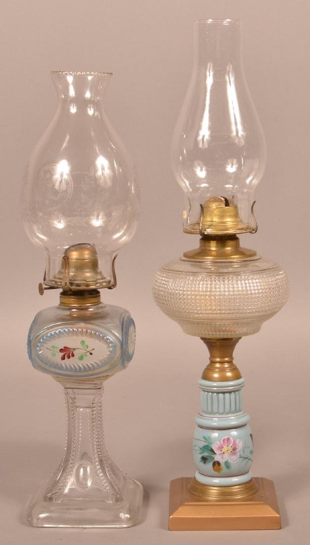 Two Antique Pattern Glass Fluid Lamps.