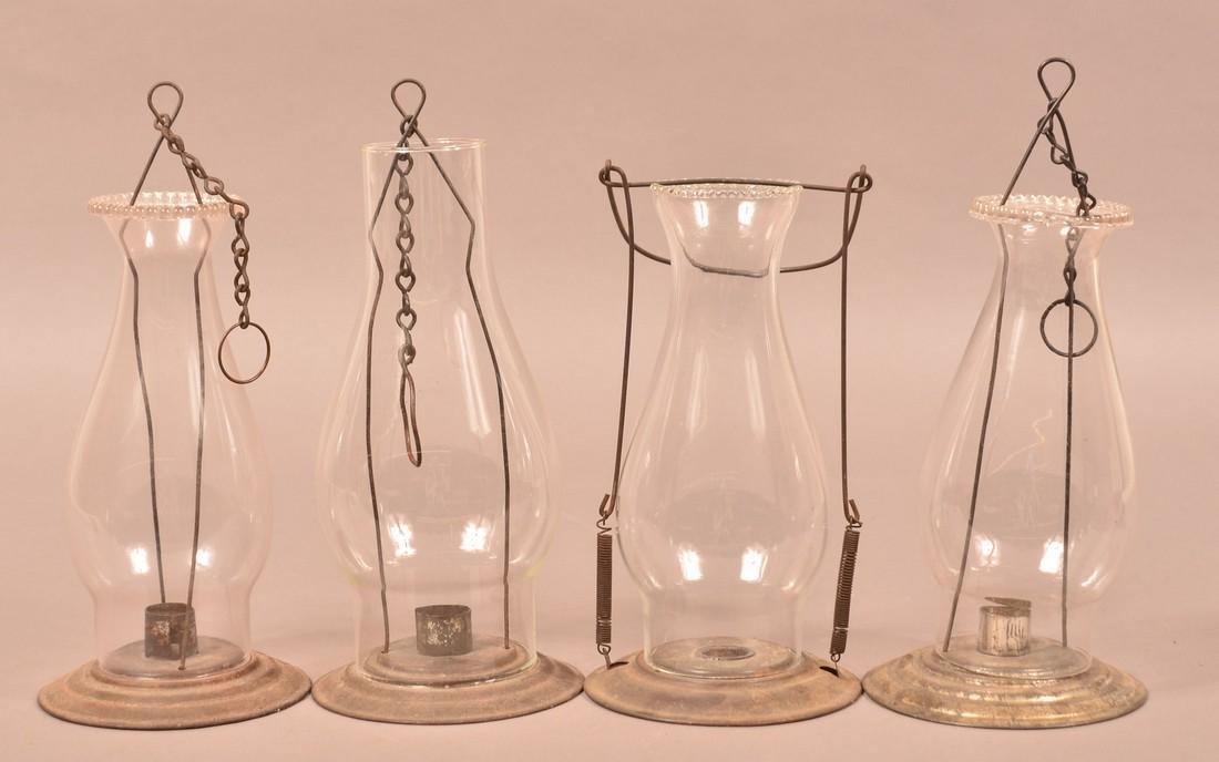 Four Antique Tin Glass Shade Candle Lanterns.
