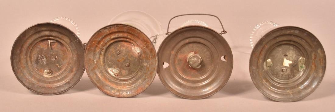Four Antique Tin Glass Shade Candle Lanterns. - 2