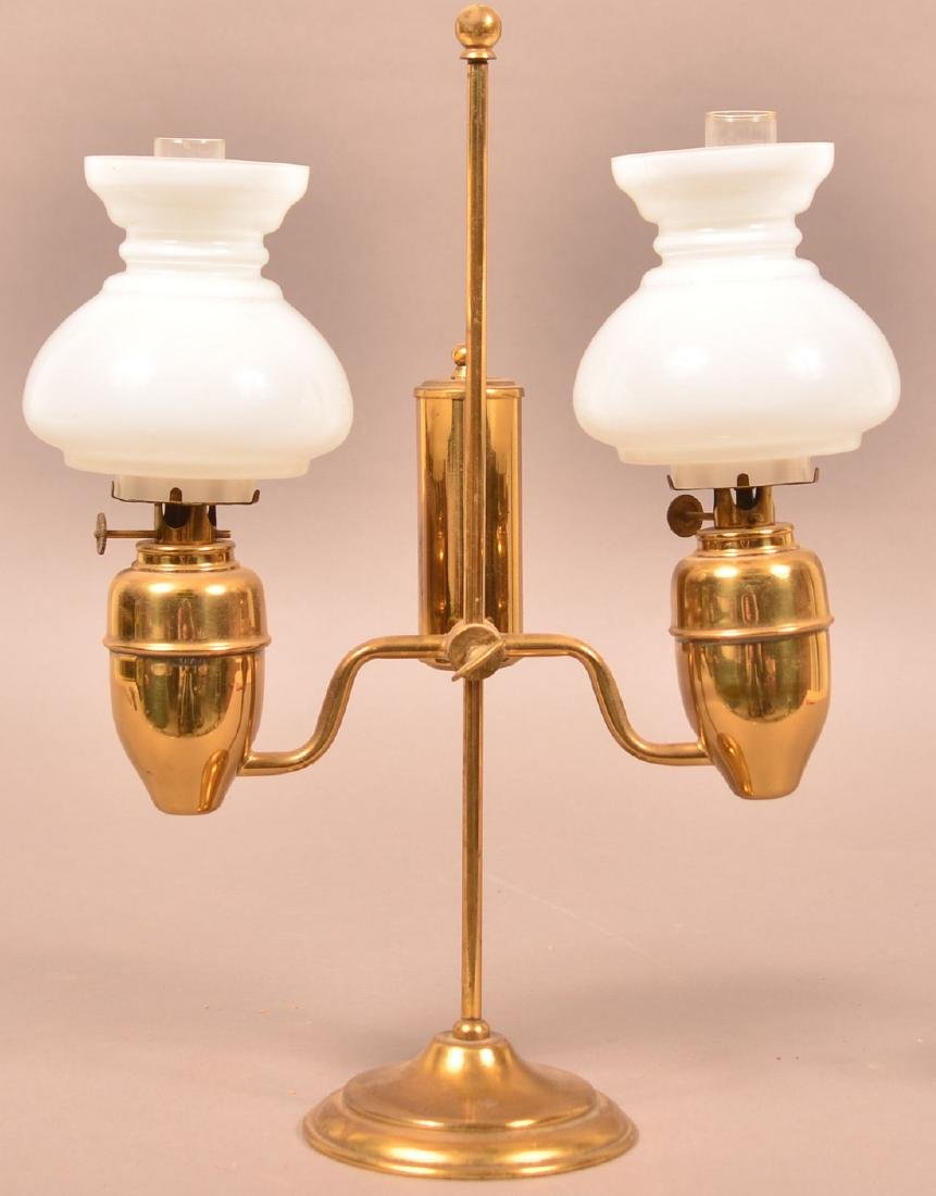 Miniature Brass Double Arm Student Lamp.