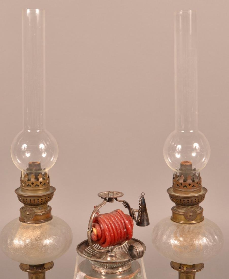 Pair of Antique Peg Lamps and a Taper Lamp.