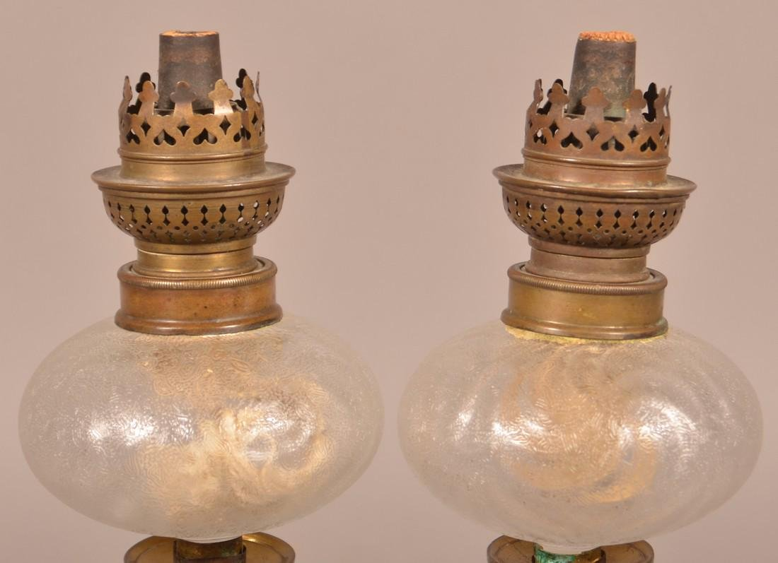 Pair of Antique Peg Lamps and a Taper Lamp. - 3