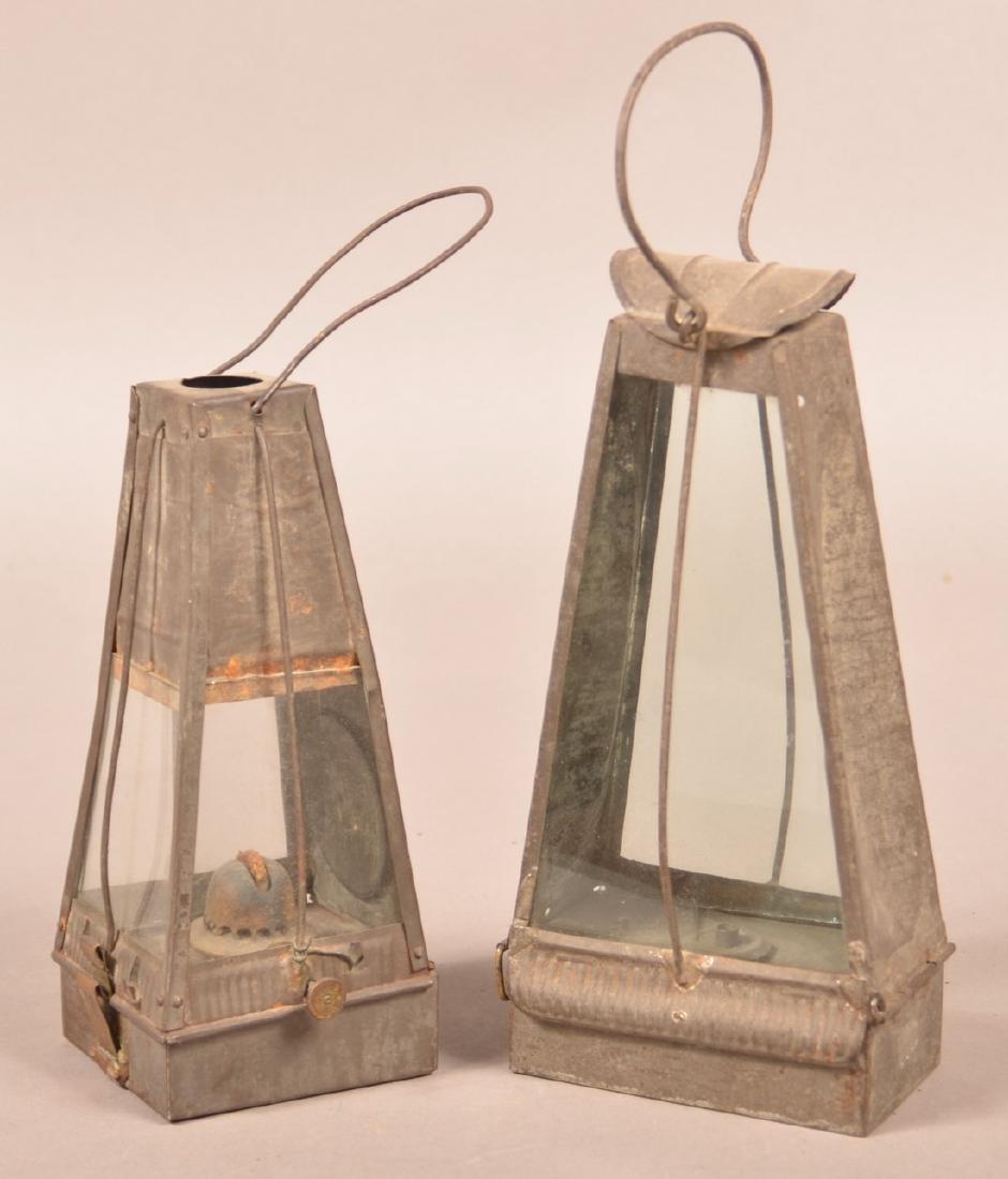 Two 19th Century Tin Fluid Lanterns.