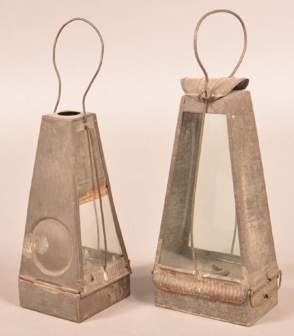 Two 19th Century Tin Fluid Lanterns. - 2