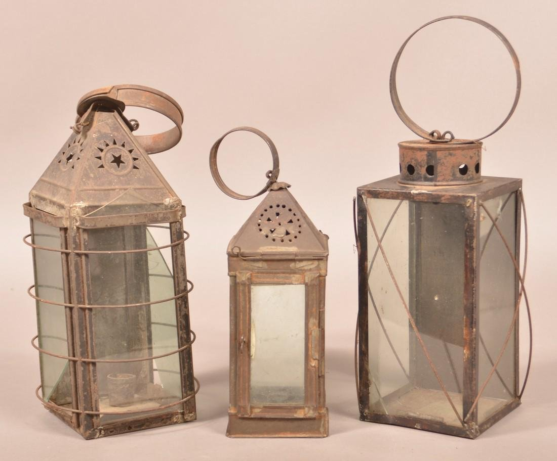 Three 19th Century Tin Candle Lanterns.