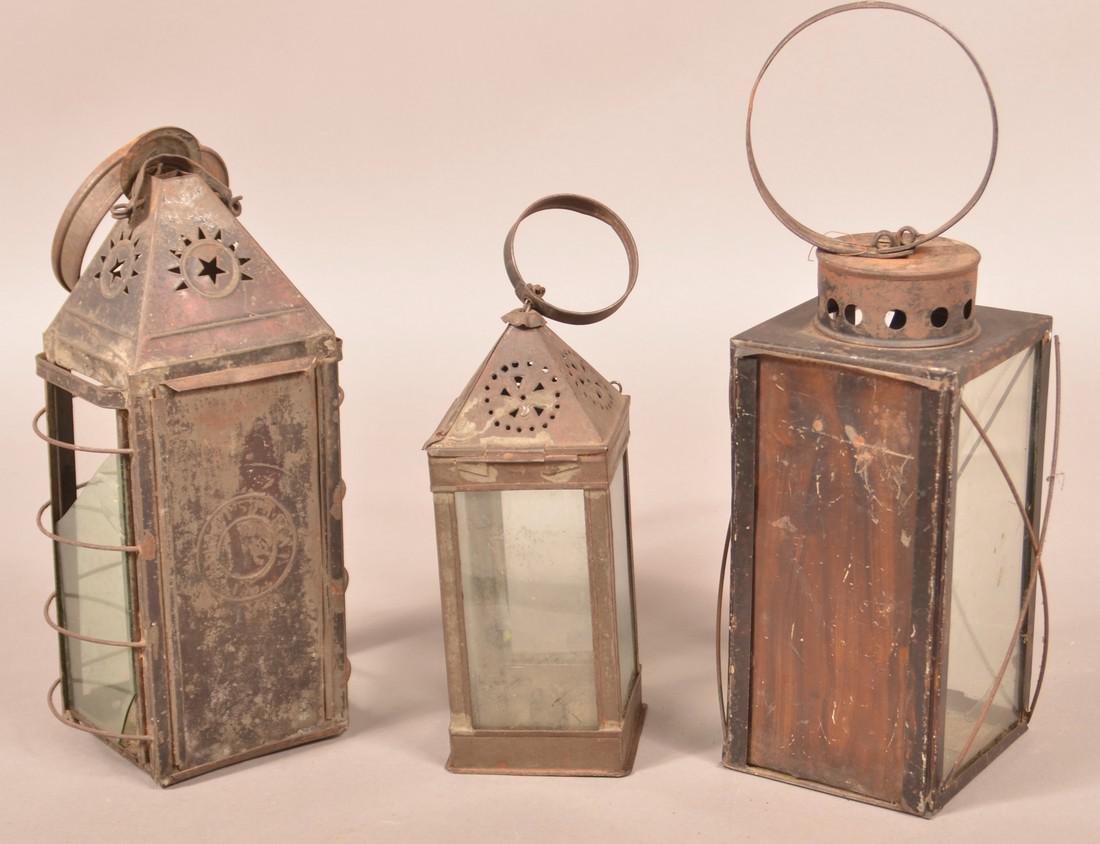 Three 19th Century Tin Candle Lanterns. - 2