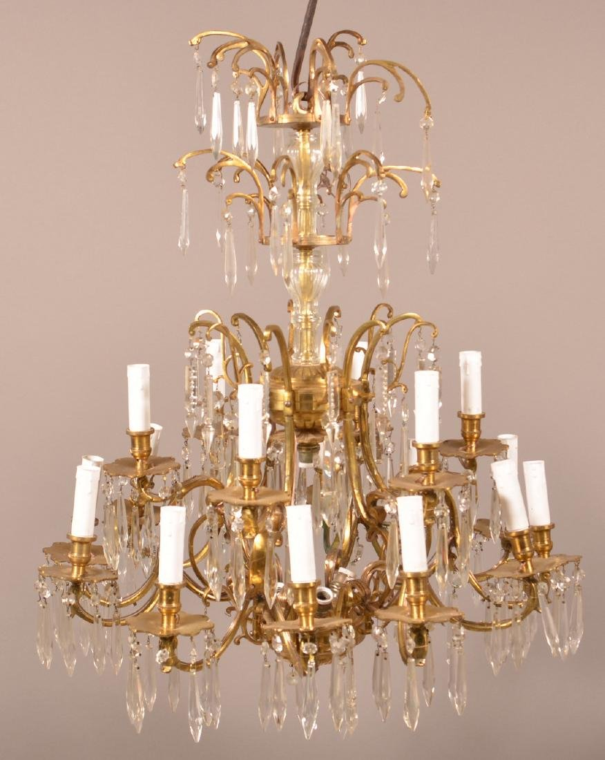 Vintage Brass Chandelier with Drop Prisms.