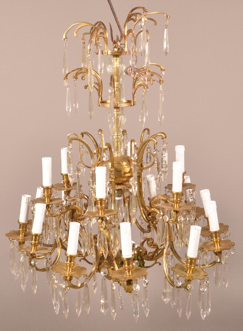 Vintage Brass Chandelier with Drop Prisms. - 2