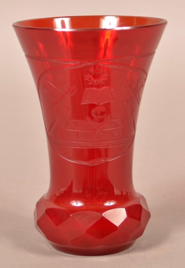 Rare Pidgeon Blood Glass Masonic Vase.