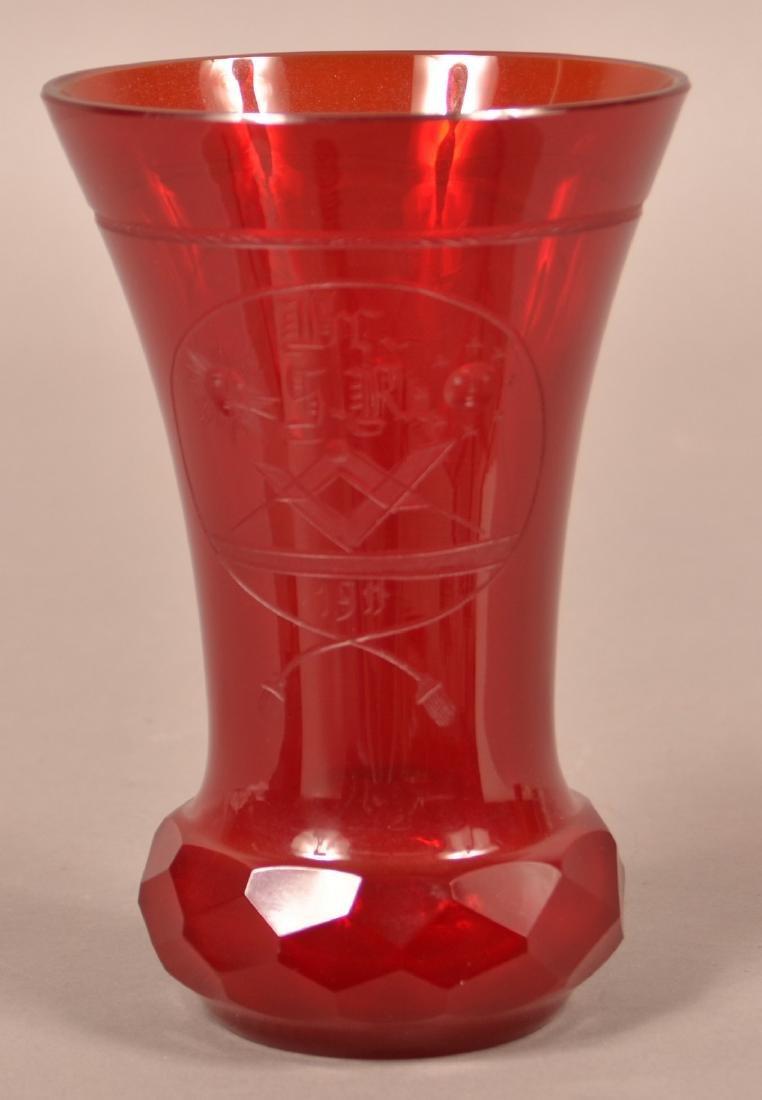 Rare Pidgeon Blood Glass Masonic Vase. - 2