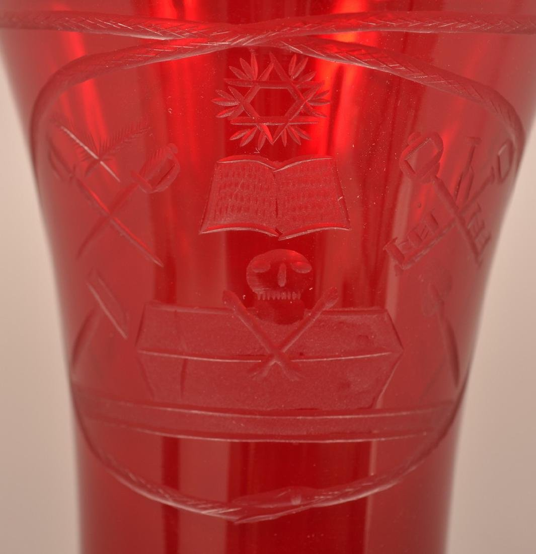 Rare Pidgeon Blood Glass Masonic Vase. - 3