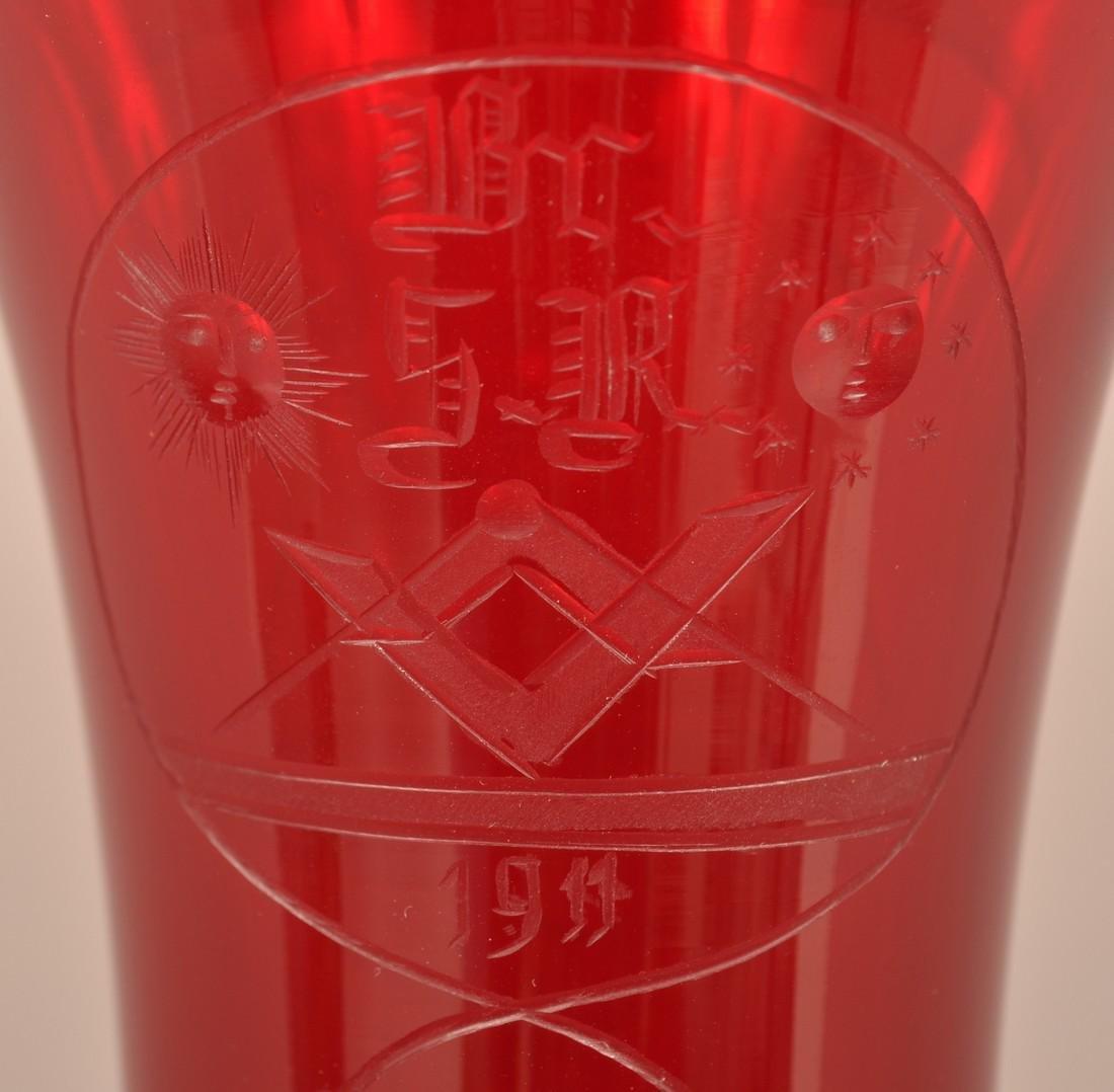 Rare Pidgeon Blood Glass Masonic Vase. - 4