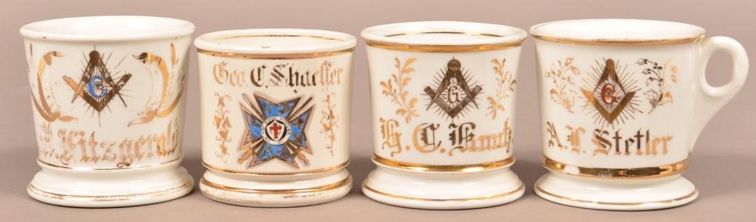 Four Antique China Masonic Shaving Mugs.