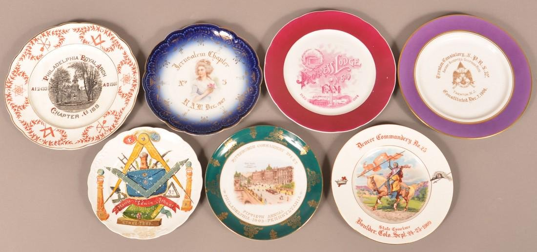 Lot of Seven Various Masonic Decorated Plates.