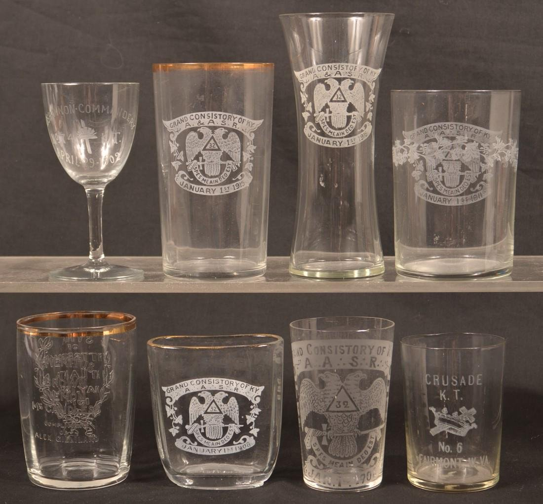 Eight Various Pieces of Masonic Glass.