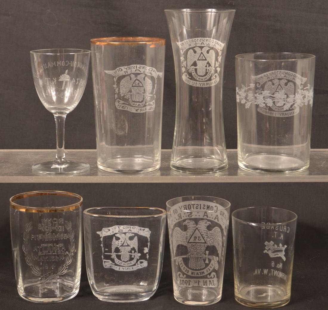 Eight Various Pieces of Masonic Glass. - 2