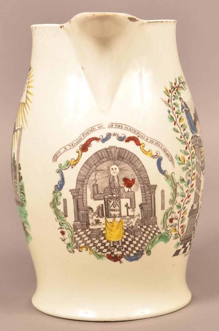 Liverpool Creamware Masonic Transfer Jug. - 2
