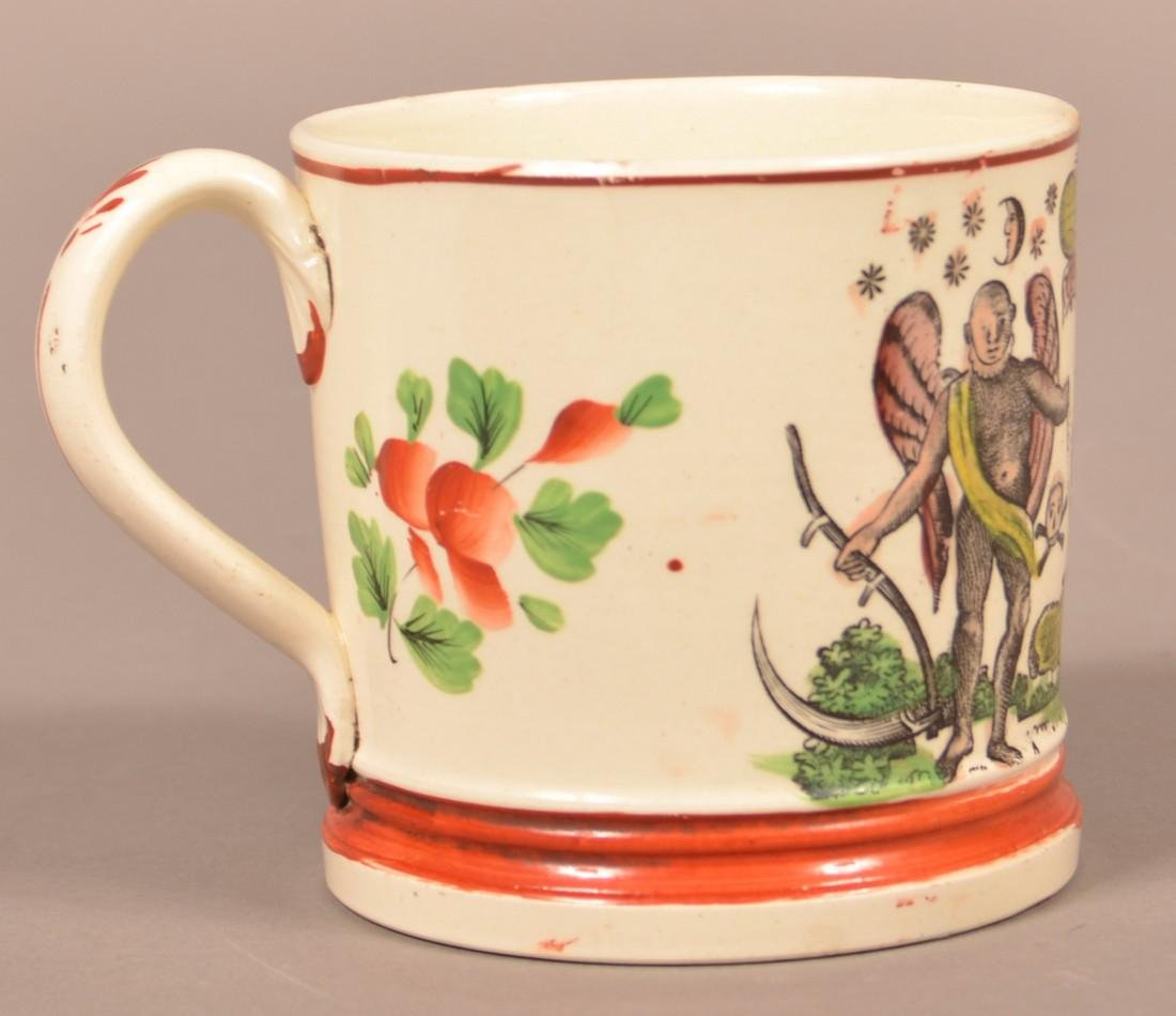 Early Creamware China Masonic Transfer Mug. - 2