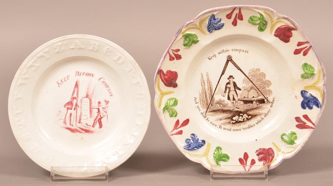 2 Staffordshire Masonic Transfer Toddy Plates.