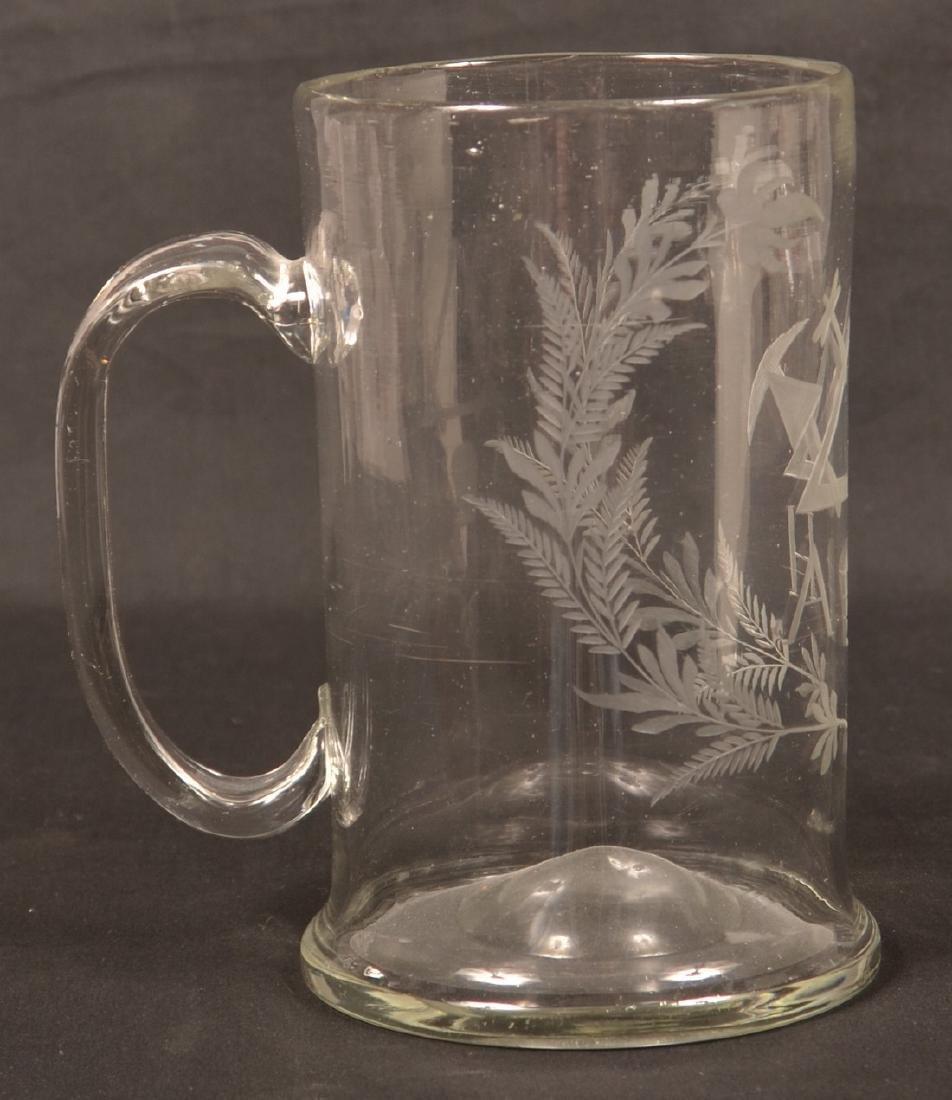 Early 19th Century Masonic Engraved Glass Mug. - 2