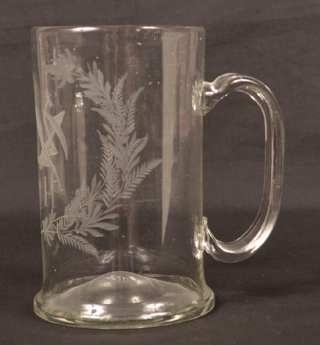 Early 19th Century Masonic Engraved Glass Mug. - 3