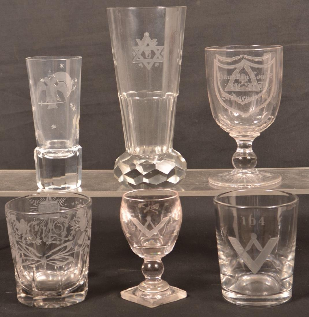 Six Various Pieces of Engraved Masonic Glass.