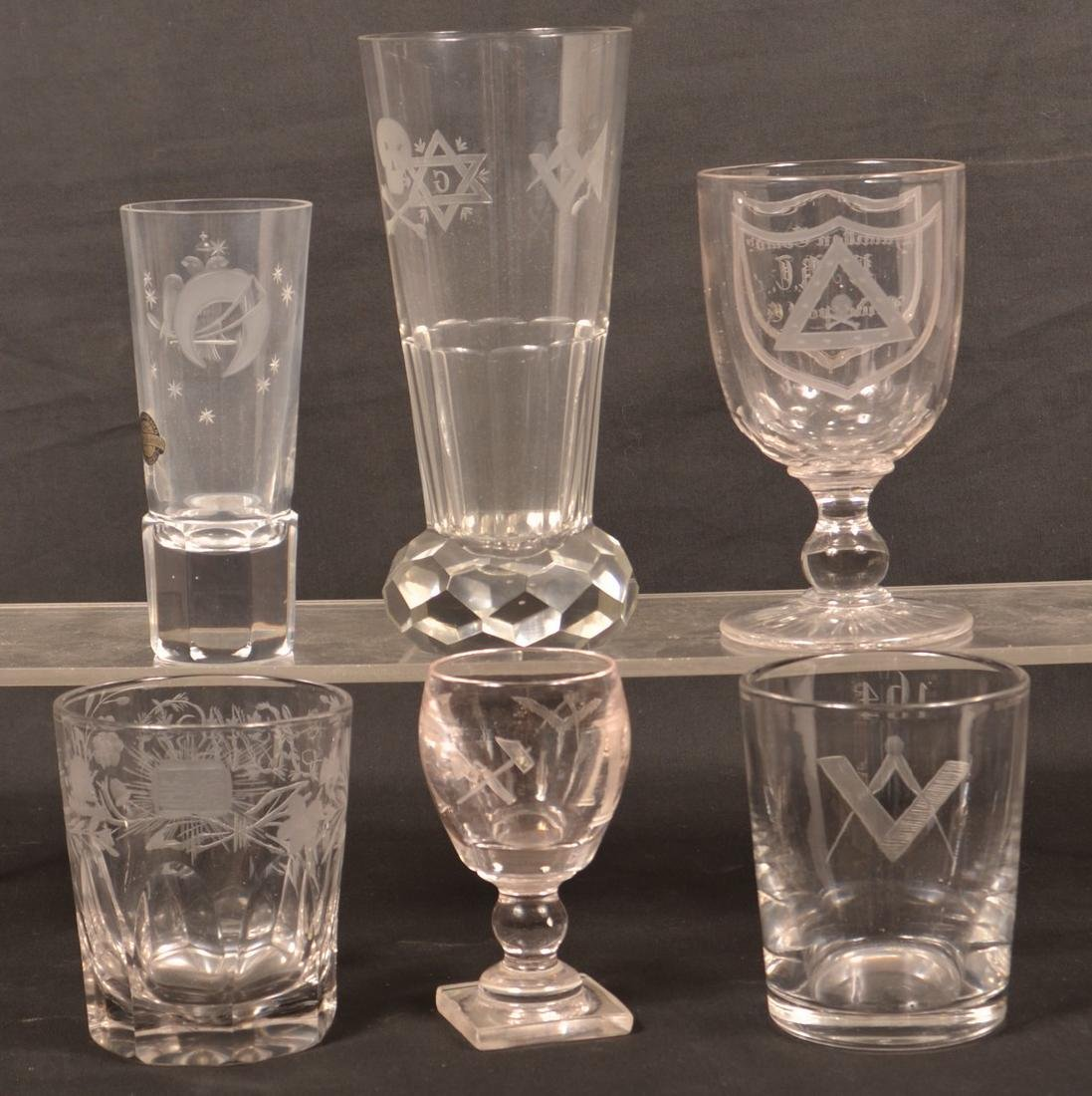 Six Various Pieces of Engraved Masonic Glass. - 2