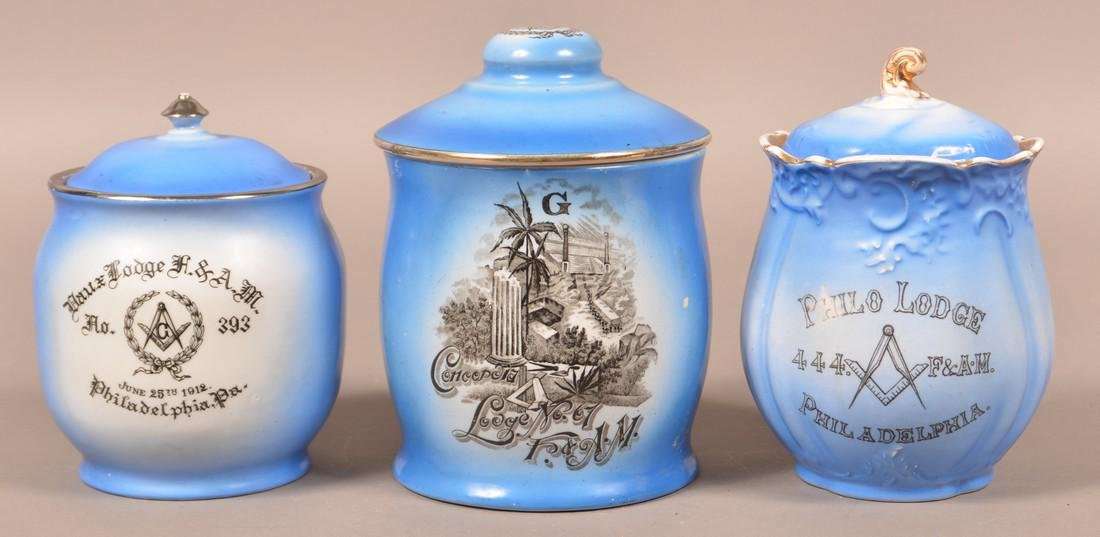 Three Masonic Transfer Decorated Biscuit Jars.