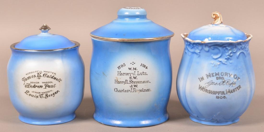 Three Masonic Transfer Decorated Biscuit Jars. - 2