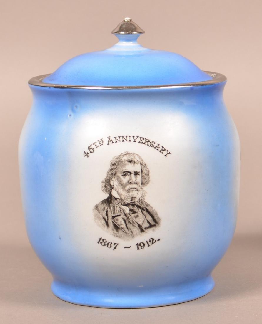 Three Masonic Transfer Decorated Biscuit Jars. - 3