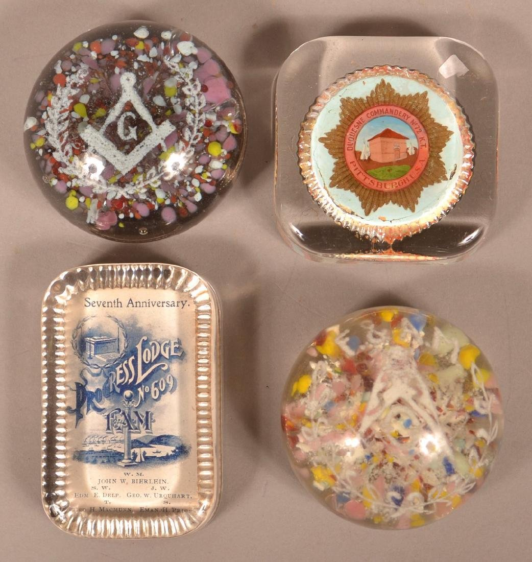 Four Various Masonic Glass Paperweights.