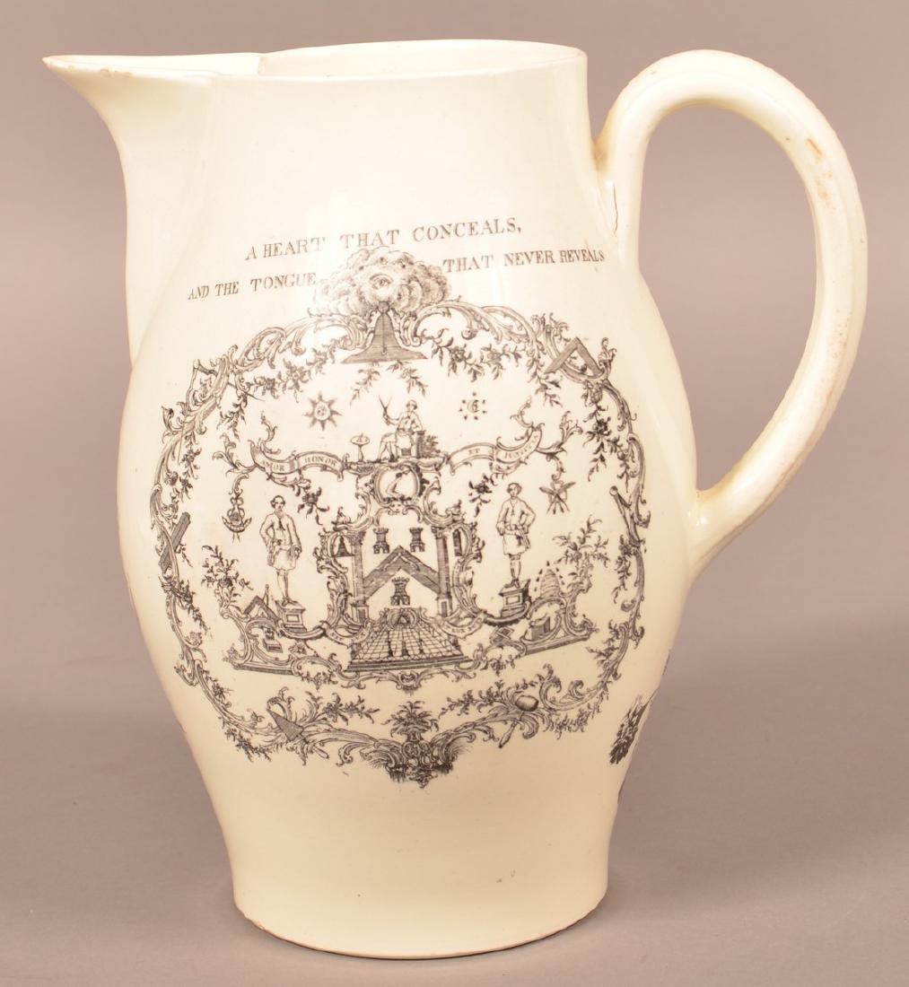 Liverpool Creamware Masonic Transfer Jug. - 3