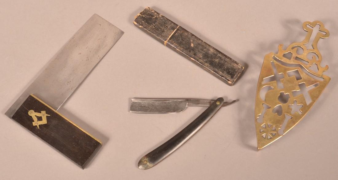 Three Pieces of Antique Masonic Metalwares.