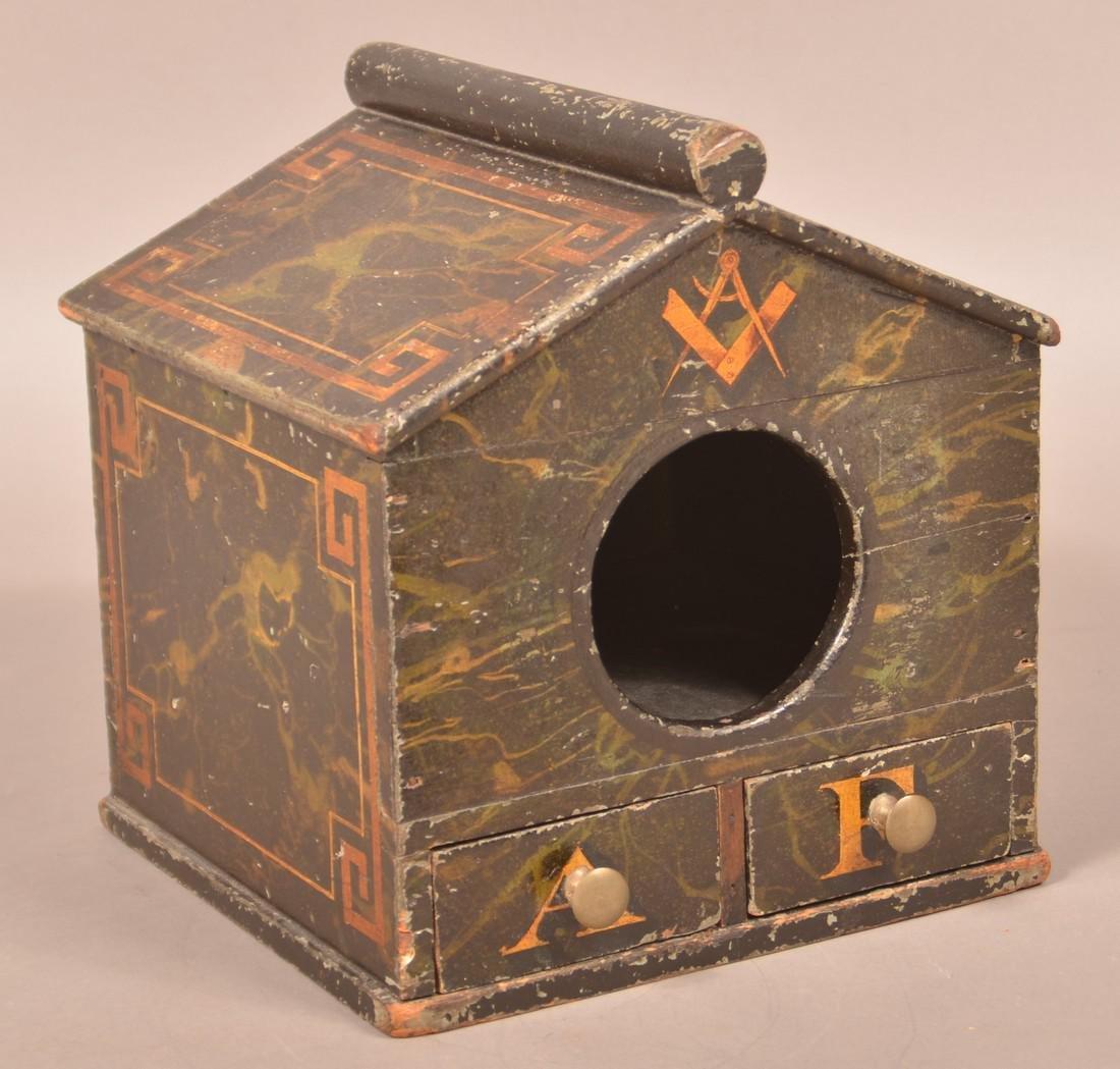 Antique Wood Masonic Ballot Box.