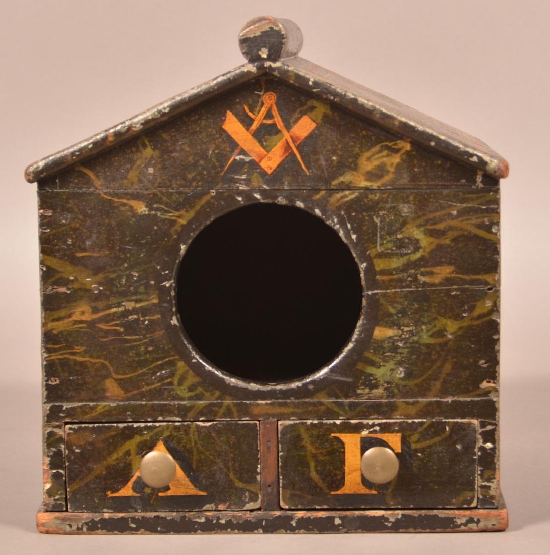 Antique Wood Masonic Ballot Box. - 2
