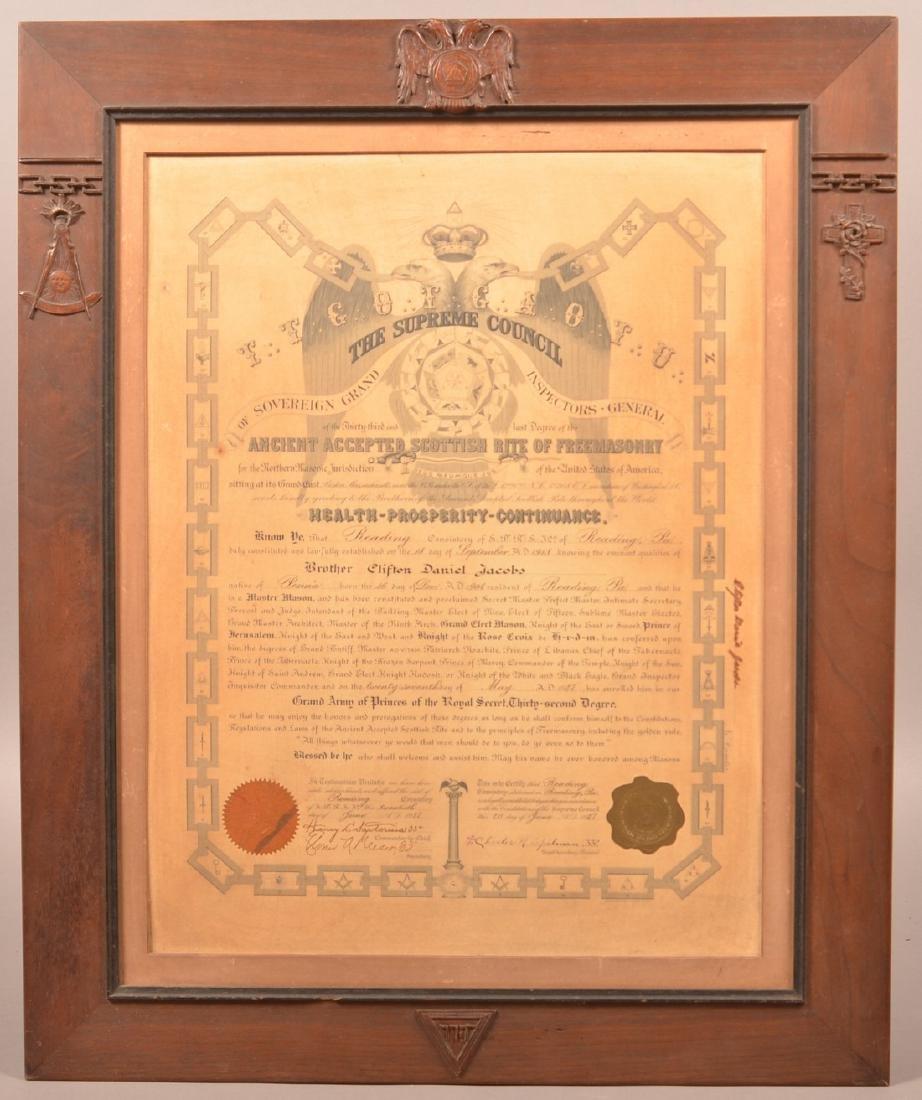 Master Mason 32nd Degree Certificate.