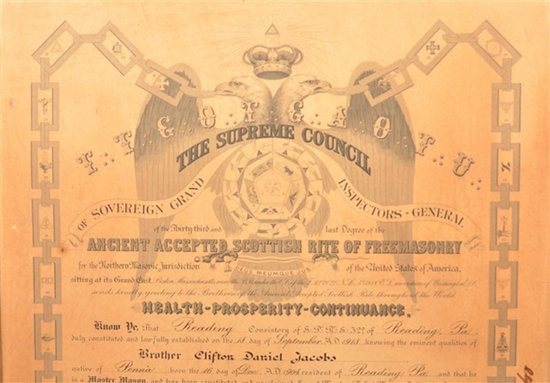 Master Mason 32nd Degree Certificate. - 2