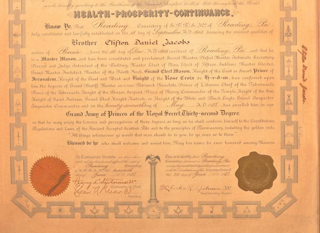 Master Mason 32nd Degree Certificate. - 3