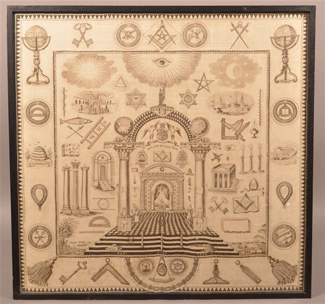 Large 19th Century Masonic Printed Silk Fabric.
