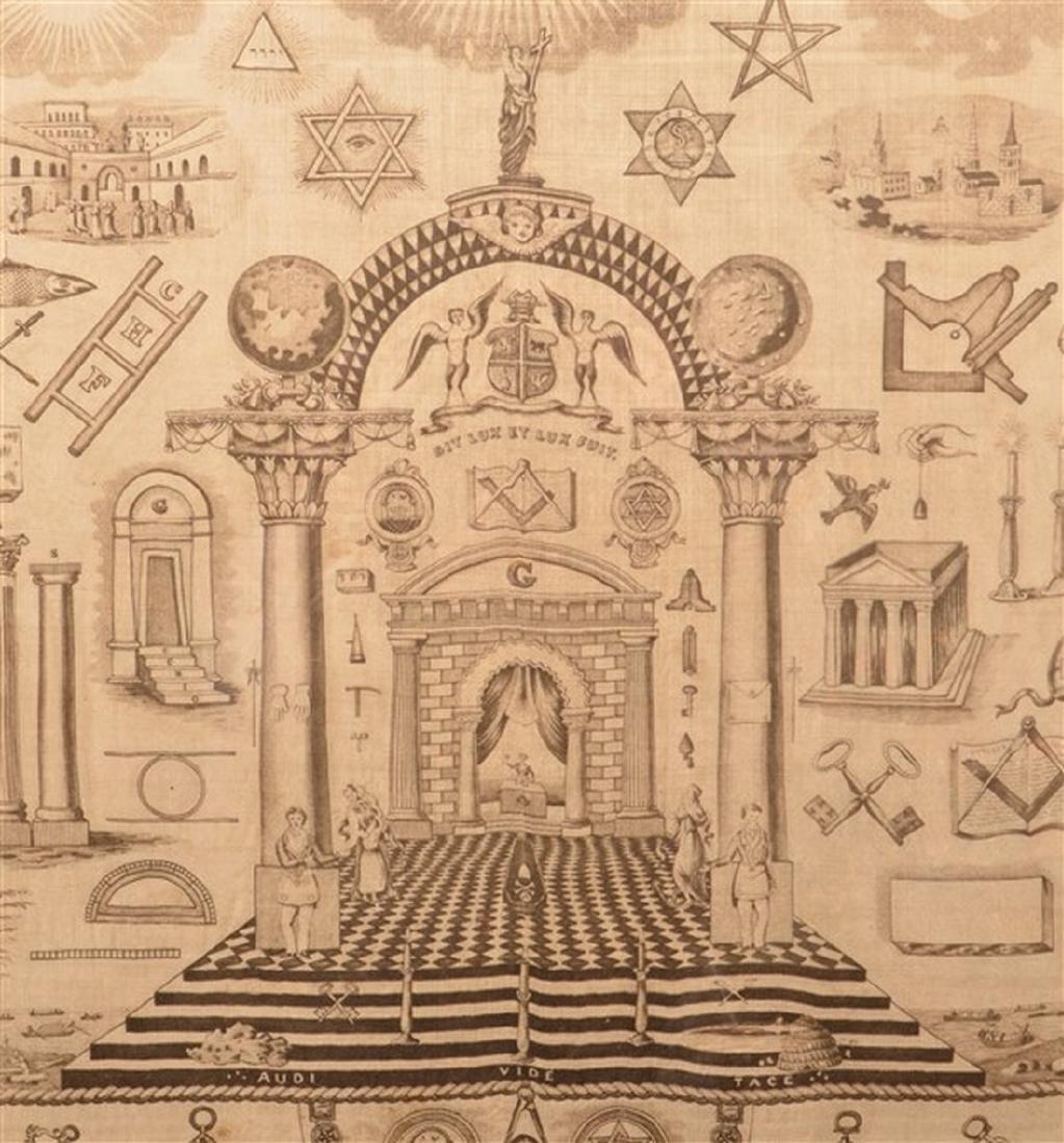 Large 19th Century Masonic Printed Silk Fabric. - 2