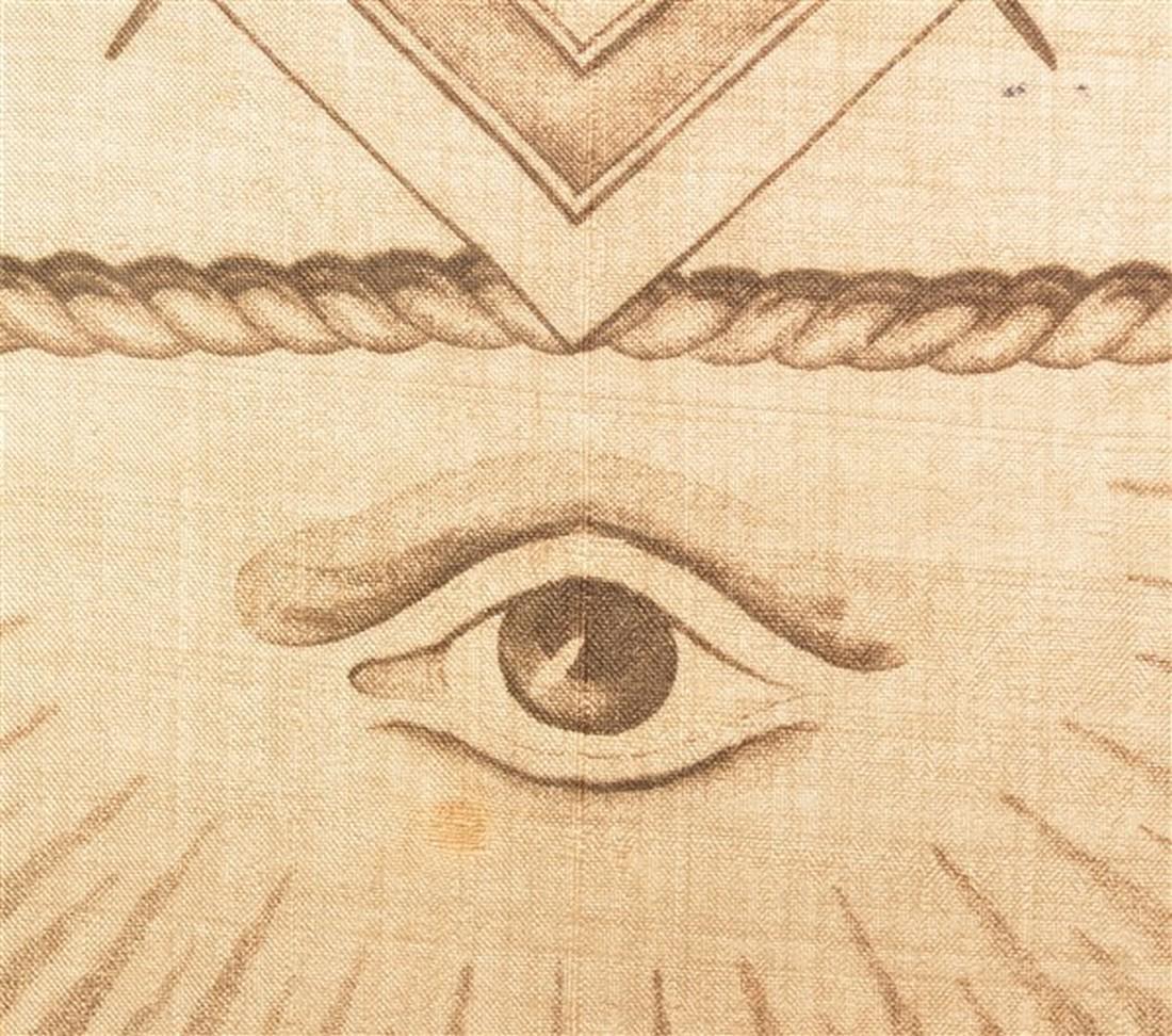 Large 19th Century Masonic Printed Silk Fabric. - 3