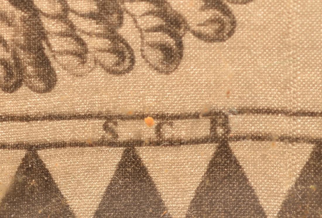 Large 19th Century Masonic Printed Silk Fabric. - 4