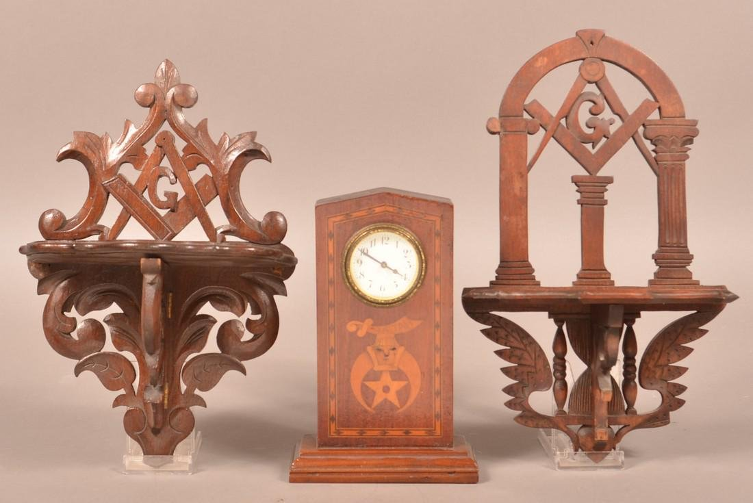 Masonic Inlaid Clock and Two Carved Shelves.