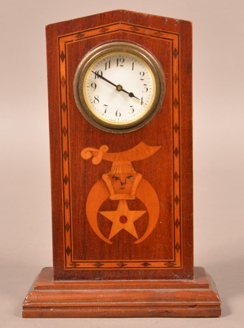Masonic Inlaid Clock and Two Carved Shelves. - 2