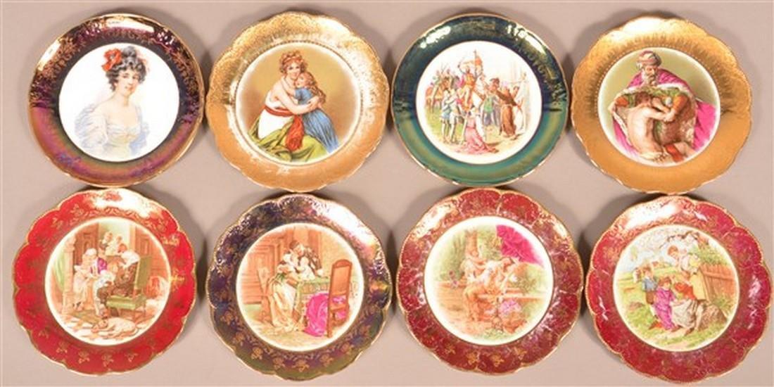 Eight Masonic Transfer Porcelain Plates.