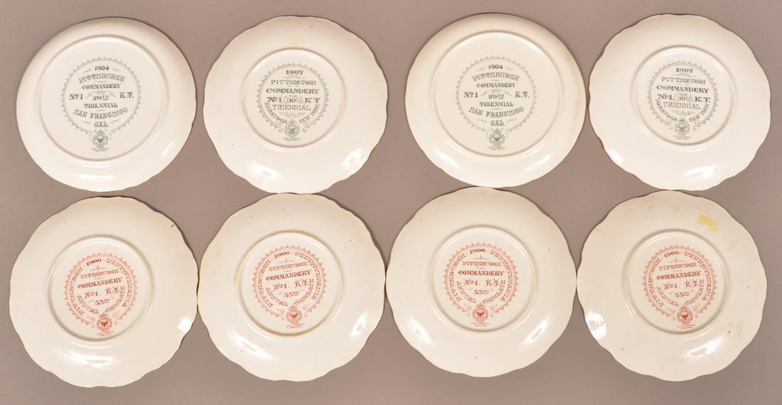 Eight Masonic Transfer Porcelain Plates. - 2