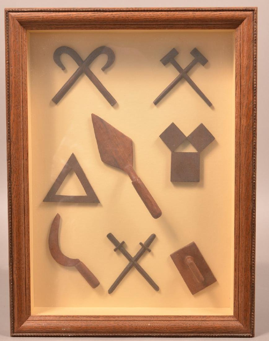 Eight Vintage Folk Art Carved Masonic Emblems.