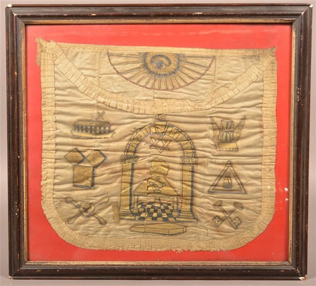 Early 19th Century Masonic Painted Silk Apron.